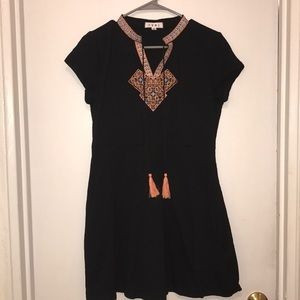 THML Black Embroidered Dress with Pockets